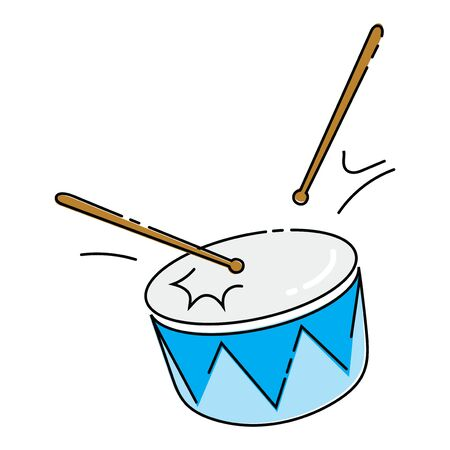 Cartoon drum on a white background. Toy musical instrument for children. Colorful vector illustration for kids.