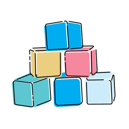 Cartoon pyramid of colored cubes. Toy cubes for children. Colorful vector illustration for kids.
