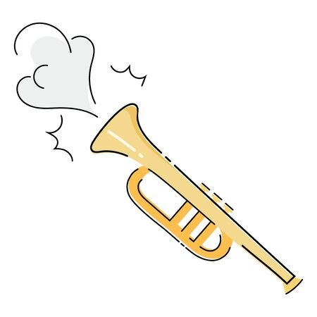 Musical pipe that makes a sound. Illustration of a wind musical instrument. Drawing for children.