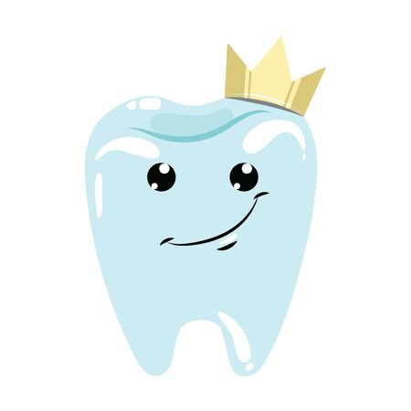 A healthy tooth with a crown. Hygiene of the oral cavity. Vector illustration for dental clinic.