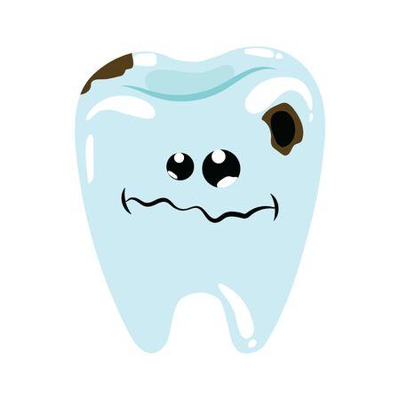 Karikaturillustration eines kranken Zahnes. Karies an den Zähnen. Hygiene der Mundhöhle. Zeichnen für Kinder.