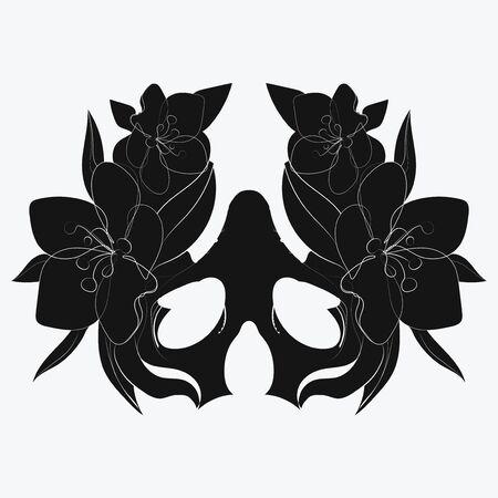 Vector stylized skull. Human skull with ornaments. Linear Art. Tattoo. Standard-Bild - 130032290