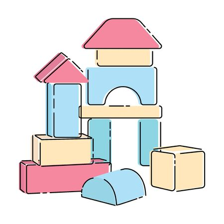 Wooden constructor for children. Cartoon drawing of a toy for children. Vector illustration of a house from a wooden constructor.