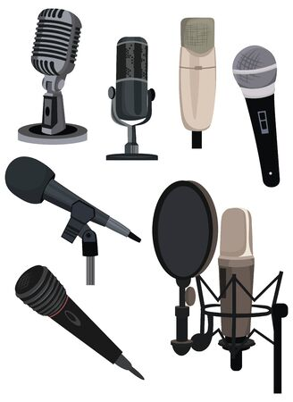 Set of different microphones. Collection of devices for audio podcast, broadcast or music recording recording sound. Color illustration of a microphone on a white background .