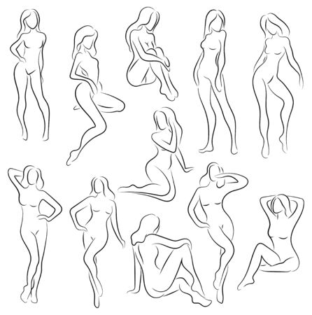 Set of female figures. Collection of outlines of young girls. Stylized slender body. Linear Art. Black and white vector illustration. Contour of a slender figure. Foto de archivo - 130316933