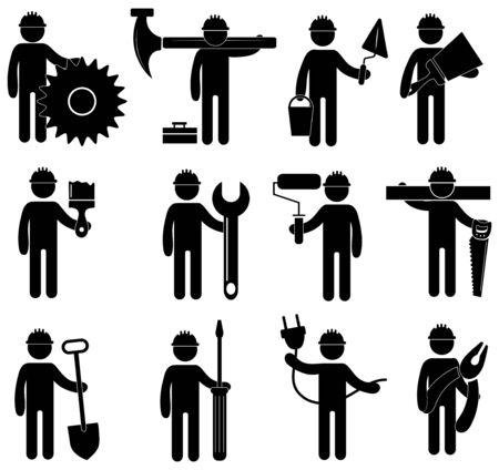 Set di icone di professioni di costruzione. Raccolta di segni stilizzati di lavori di costruzione. Logo in bianco e nero di una varietà di opere.