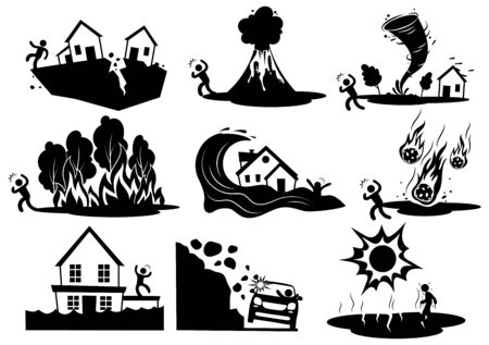Set of natural disasters. Collection silhouettes of destruction on planet earth. Set of cataclysms volcanic eruption and snow avalanche and flood. Black and white vector illustration.