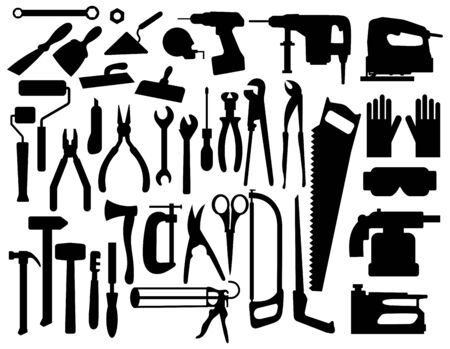 Set of building tools silouettes. Collection of appliances and power tools for builders. Black-white vector illustration. Иллюстрация