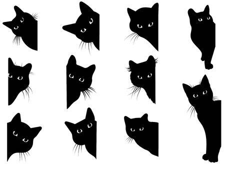 Conjunto de gatos negros mirando por la esquina. Colección de caras de gatos que te espían. Jugando a las mascotas. Tatuaje.