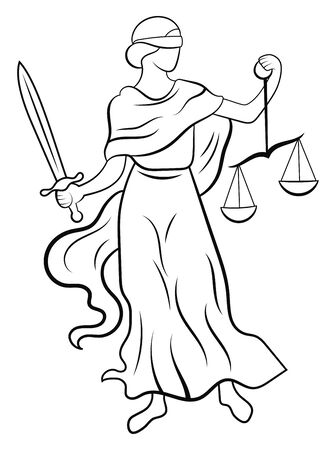 Themis or Justice - goddess of order, fairness, law from ancient Hellenic myths. Black and white illustration of femida. Line art. Logo for a lawyer or judge. Tattoo.
