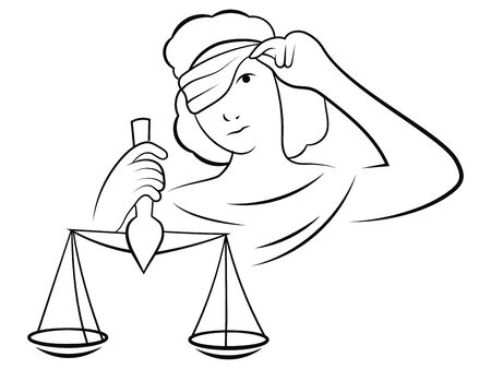 Themis looks at the scales. Black and white vector illustration of a femida that violates justice. The symbol of corruption. Line art.