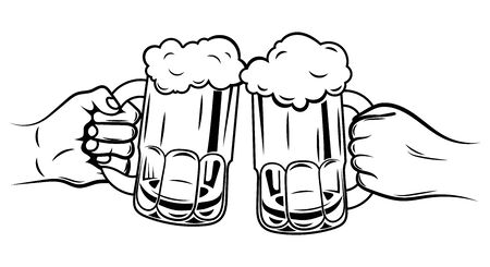 Two glasses of beer. Black and white illustration for oktoberfest or beer festival. Two hands with glasses of beer.