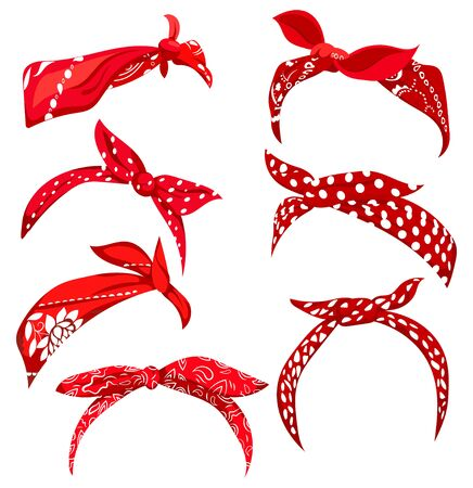 Set retro headband for woman. Collection of red bandanas for hairstyles. Windy hair dressing illustration. 写真素材 - 130317055