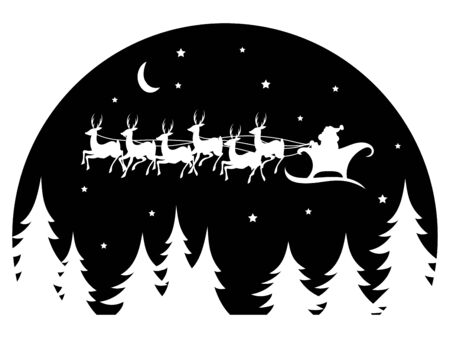 Santa Claus flying in a sleigh drawn by deer over the forest. Black and white vector illustration for Christmas. 矢量图像