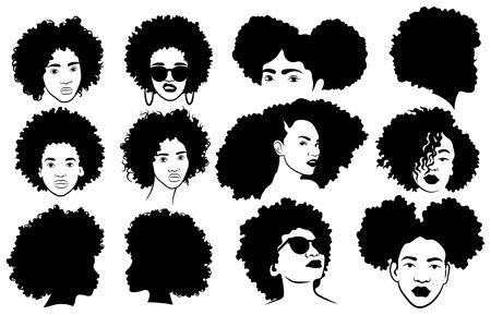 Conjunto de peinados afro femeninos. Colección de rastas y trenzas afro para niña. Ilustración en blanco y negro para un secador de pelo.