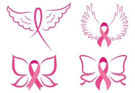 Set of pink ribbons with wings. Breast cancer awareness ribbons collection. Vector illustration for health.