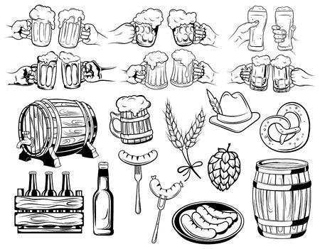 Oktoberfest set. Collection of elements for the beer festival. Black and white vector illustration for a beer store. Line art. Ilustração Vetorial