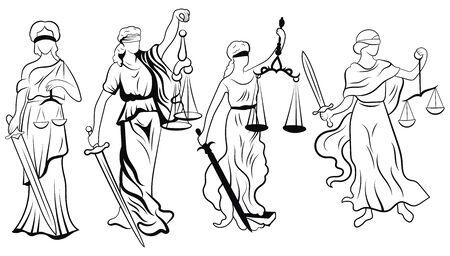 Themis insieme. Collezione di femida in bianco e nero. Illustrazione vettoriale della dea della giustizia. Logo per il tribunale o l'avvocato. Linea artistica. Logo