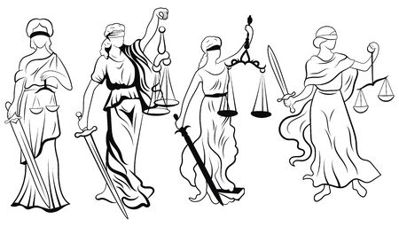 Themis set. Collection of black and white femida. Vector illustration of the goddess of justice. Logo for the court or lawyer. Line art. Logo