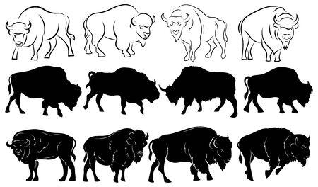 Set di bisonti. Collezione di sagome stilizzate di bisonte. Illustrazione in bianco e nero di un grande animale cornuto. Tatuaggio. Vettoriali