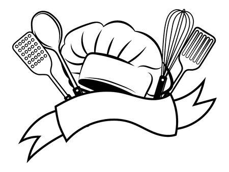 Emblema del restaurante. Ilustración de vector de blanco y negro para maestro de taller. Logotipo para el cocinero. Logos