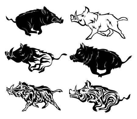Set of running wild boars. Collection of stylized boars for the logo. Black and white illustration of a wild animal for the hunt. Illustration