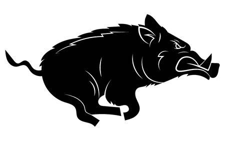 Sanglier courant. Illustration vectorielle noir et blanc d'un sanglier stylisé. Dessin d'un animal sauvage pour la chasse. Tatouage.