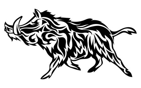 Running wild boar. Black and white vector illustration of a stylized boar. Drawing of a wild animal for hunting. Tattoo. Stock Vector - 130322682