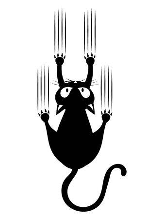Zwarte kat die aan de muur krabt. Silhouet van cartoon kat die de muur beklimt. Vectorillustratie van een huisdier voor kinderen. Tatoeëren.