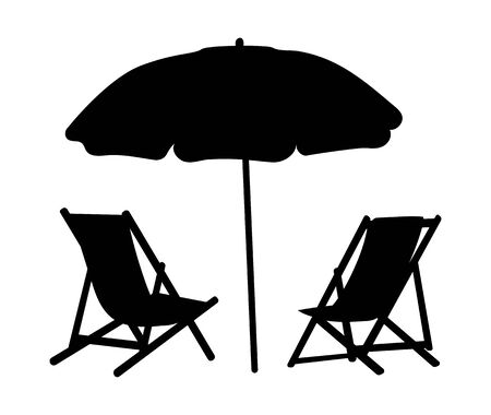 Two lounge chairs under an umbrella on the beach. Black and white illustration of lounges under a canopy. Vacation vector illustration. Silhouette summer vacation. Tattoo.