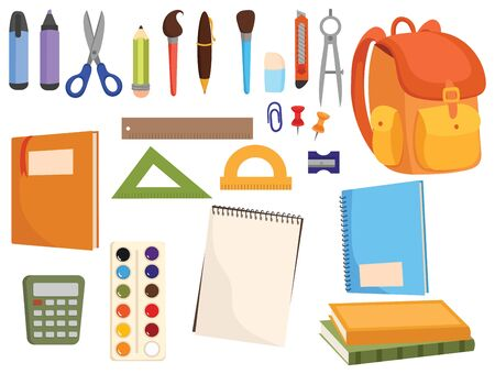 Set of accessories for the school. Collection of stationery for students and schoolchildren. Cartoon vector illustration of studying at universities and schools.