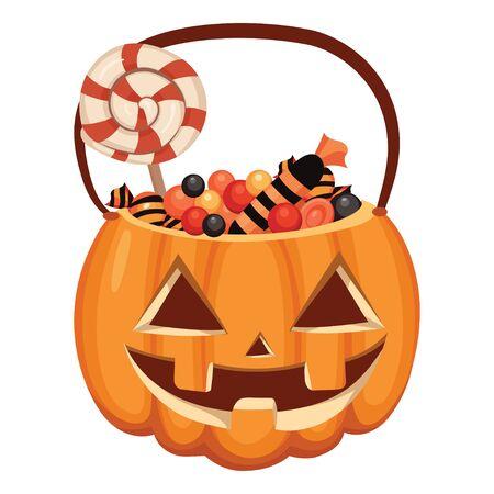 Cubo de calabaza de Halloween lleno de dulces. Ilustración de dibujos animados de una canasta para Halloween. Dibujo vectorial para niños.