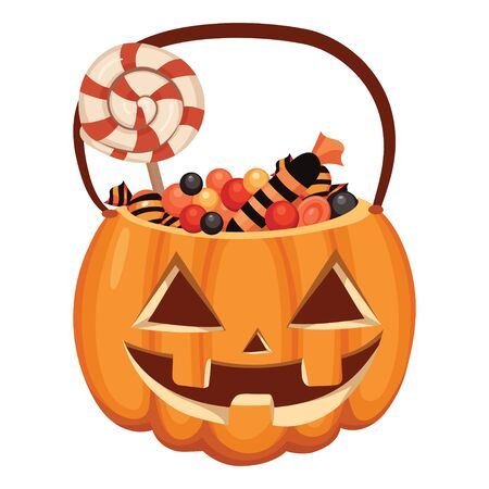 Halloween pumpkin bucket filled with sweets. Cartoon illustration of a basket for Halloween. Vector drawing for children.
