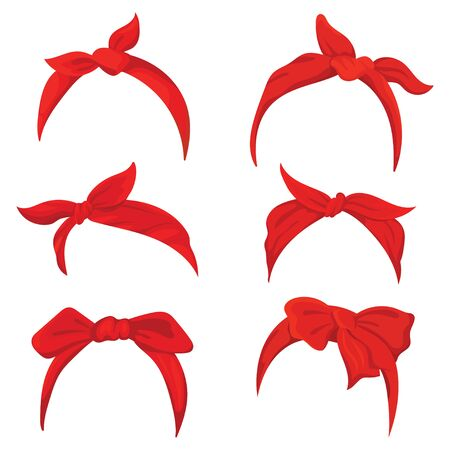 Set retro headband for woman. Collection of red bandanas for hairstyles. Windy hair dressing illustration.