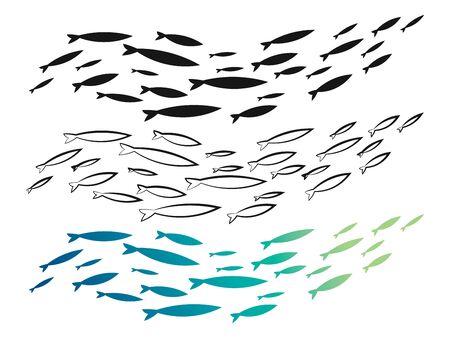 Conjunto de bandada de peces de colores. Una colección de bancos de peces pequeños. Siluetas de un grupo de peces. Logo.