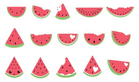 Set of pieces of watermelon. Collection of slices watermelon. Juicy summer fruit. Иллюстрация