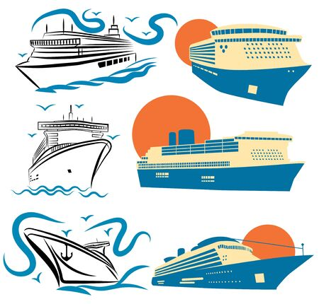 Set of stylized cruise liners. Collection of cruise logos. Vector illustration for travel.
