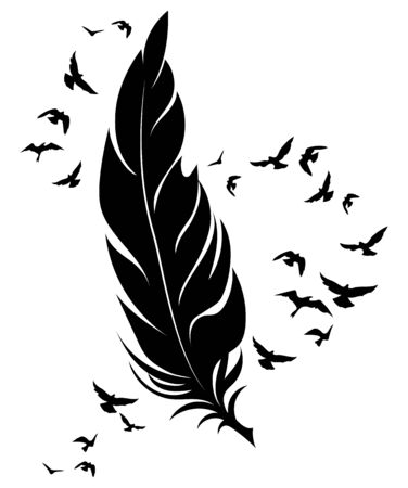 Feather and birds. Black and white vector illustration of stylized feather with silhouettes of flocks of birds. Tattoo. Archivio Fotografico - 130324240