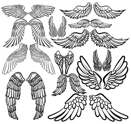 Set of angel wings. Wings collection with feathers. Black white vector illustration. Tattoo. Archivio Fotografico - 130324256