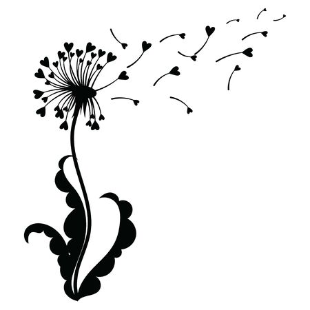 Dandelion with hearts. Black and white dandelion with flying seeds. Vector illustration of a summer flower. Silhouette dandelion. Tattoo. 일러스트