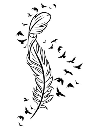 Feather and birds. Black and white vector illustration of stylized feather with silhouettes of flocks of birds. 일러스트