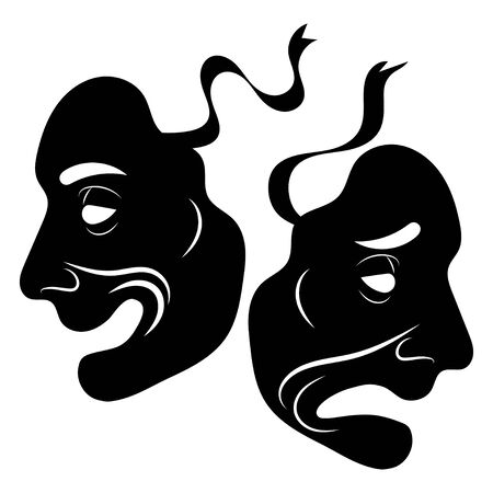 Theatre Masks. Drama and comedy. Illustration for the theater. Tragedy and comedy mask. Black white illustration.