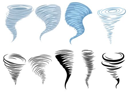 Set of tornadoes. Collection of stylized tornadoes. Vector illustration of a weather cataclysm.