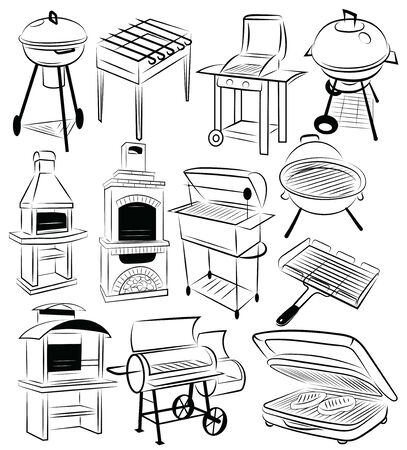 Set of barbecue grills. Collection of braziers. Black and white illustration. Vectores