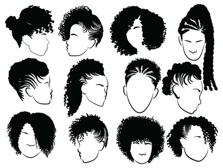 Set of female afro hairstyles. Collection of dreads and afro braids for a girl. Black and white vector illustration for a hairdrymaker.