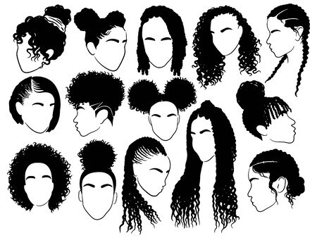 Set of female afro hairstyles. Collection of dreads and afro braids for a girl. Black and white vector illustration for a hairdrymaker . Иллюстрация