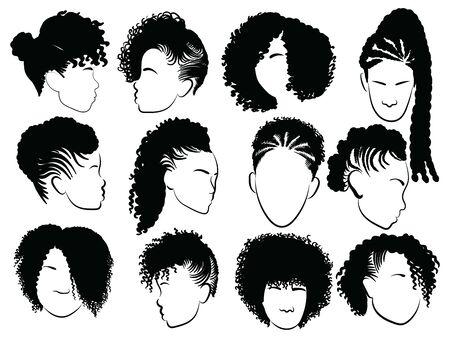 Set di acconciature afro femminili. Collezione di dreadlocks e trecce afro per una ragazza. Illustrazione vettoriale in bianco e nero per un asciugacapelli. Vettoriali