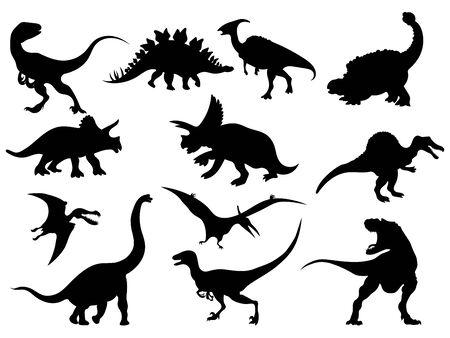 Conjunto de siluetas de dinosaurios. Colección de animales extintos. Ilustración en blanco y negro de dinosaurios para niños. Ilustración de vector