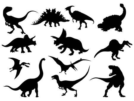 Set of dinosaur silhouettes. Collection of extinct animals. Black and white illustration of dinosaurs for children. Vector Illustratie