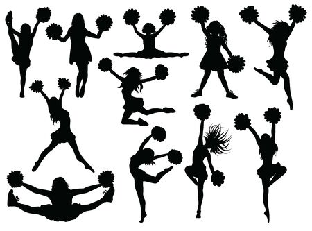 Set of silhouette cheerleaders. Collection of black and white silhouettes of girls from a support group.